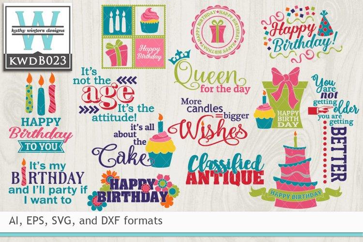 BUNDLED Birthday Cutting Files KWDB023 example image 1