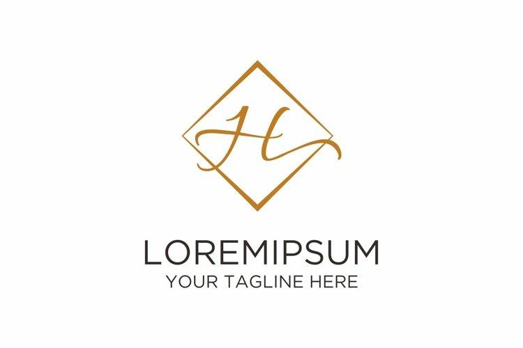 Initial H Letter Rhomb Handwriting Logo example image 1