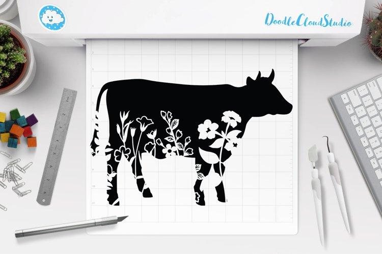 Floral Cow SVG, Flower Cow SVG Cut File, Floral Cow Clipart. example image 1