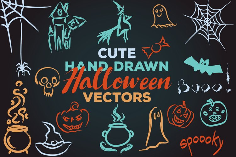 17 Cute Halloween Vector Illustrations, EPS AI PNG SVG