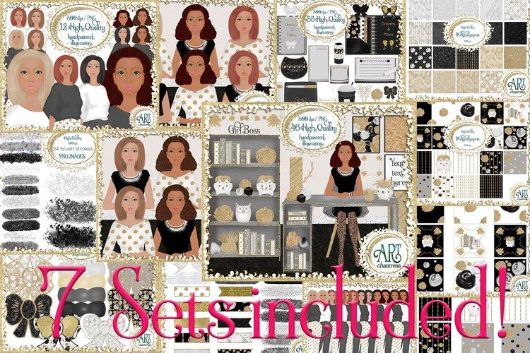 7 Sets Bundle-Graphics&Digital Papers,Lady Boss planner art