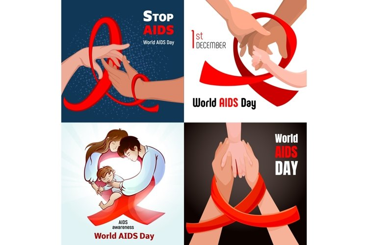 World aids day banner set, cartoon style example image 1