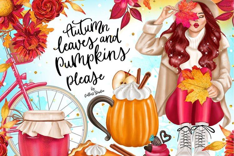 Fall Clipart, Autumn fashion Illustration example image 1