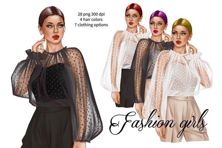 Fashion glam girl illustration, girl boss planner clipart