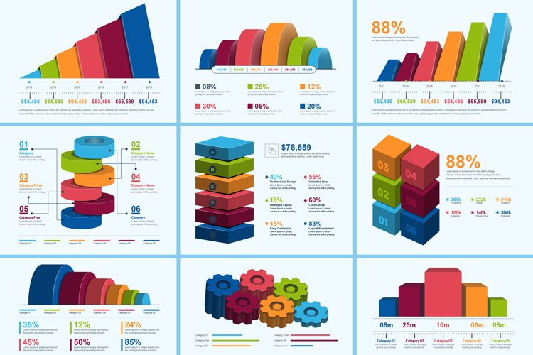 3D Business Infographic Elements example image 1