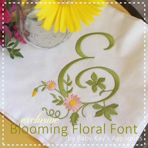 Blooming Floral Embroidery Font A-Z  example image 1