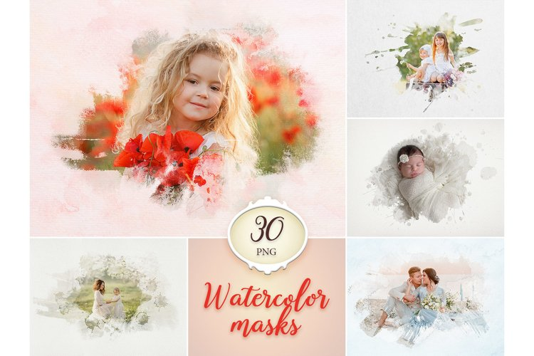 30 Watercolor Portrait Mask Overlays