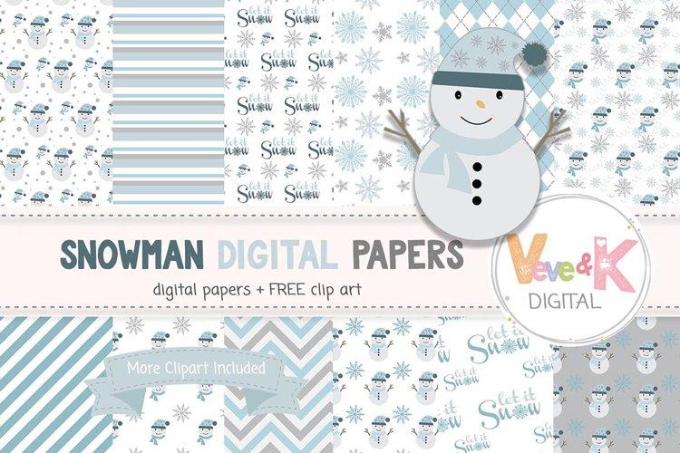 Snowman Clip Art, Snowman Digital Papers, Winter Wonderland, Winter Digital Papers, Snowman Vector Images Scrapbooking Winter