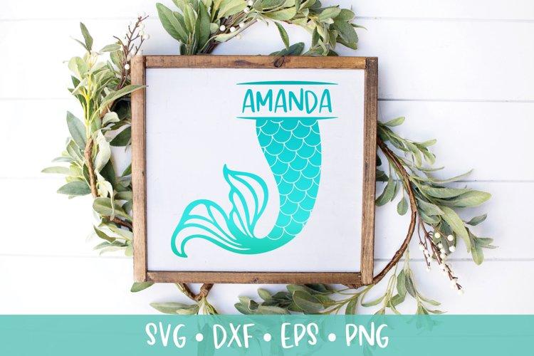 Mermaid Tail Split Monogram SVG DXF PNG Cut File example image 1
