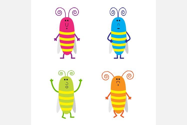 Set of cute cartoon cockroach. example image 1