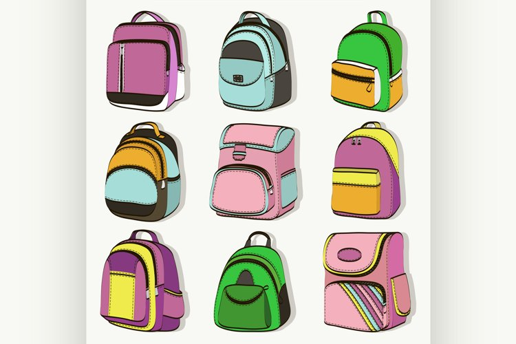Colored teenager school backpacks set example image 1