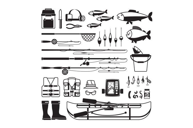 Fishing vector black icons