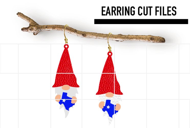Gnome Texas Earrings Svg / Earrings Template example image 1