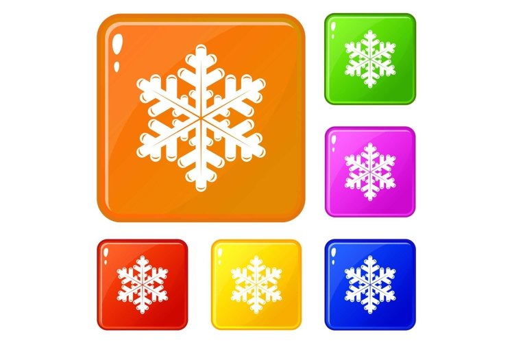 Snowflake icons set vector color example image 1