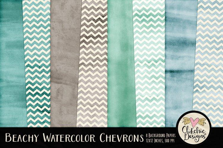 Beachy Watercolor Chevron Background Textures example image 1