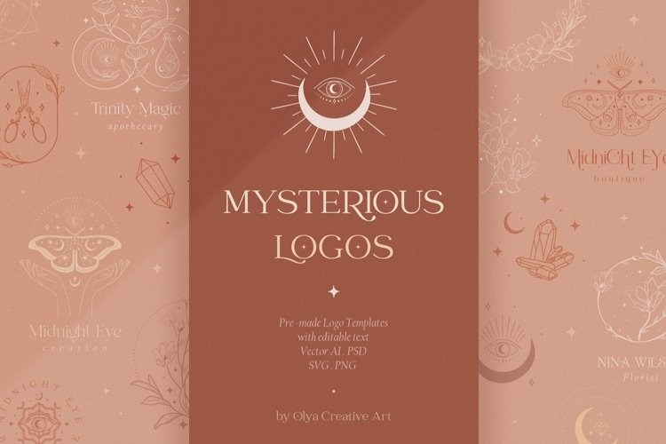 Mysterious Logos Collection. Fully editable Pre-made Logos. example image 1