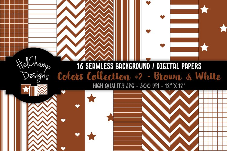 16 seamless Digital Papers - Brown and White- HC153 example image 1