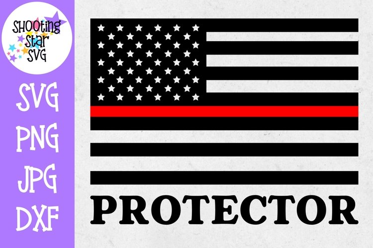 American Flag Protector- Thin Red Line - Firefighter SVG example image 1