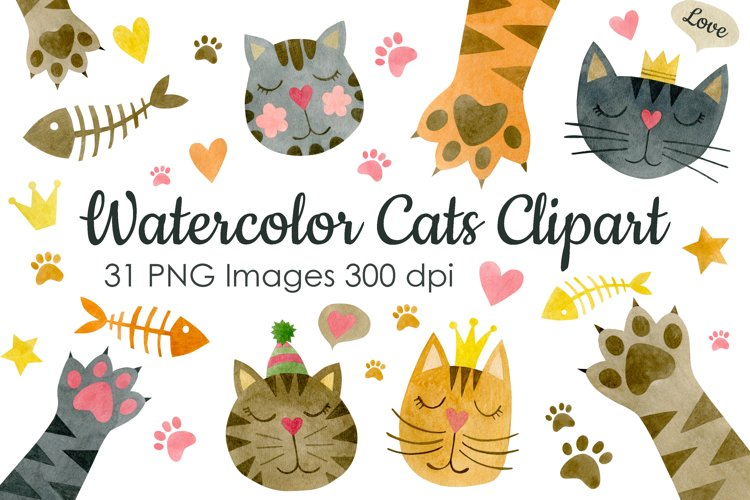 Watercolor cats clipart. example image 1