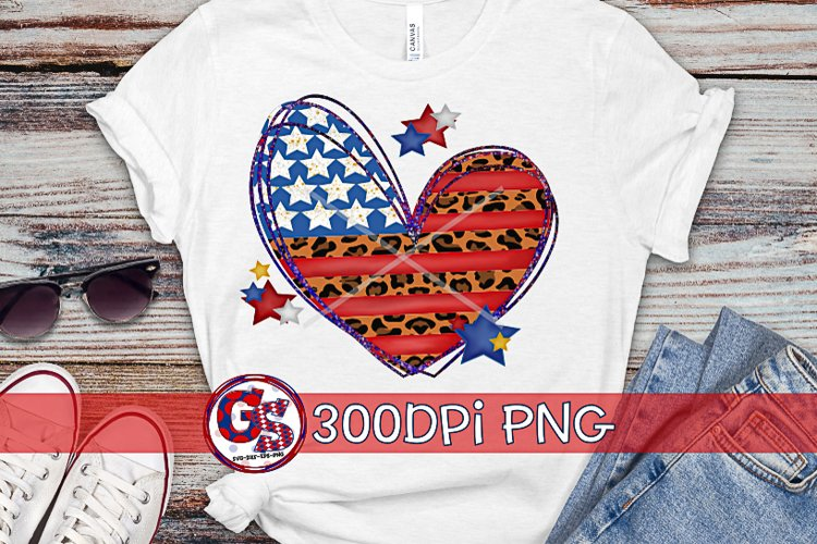 American Flag Leopard Heart Sublimation PNG | July 4th PNG