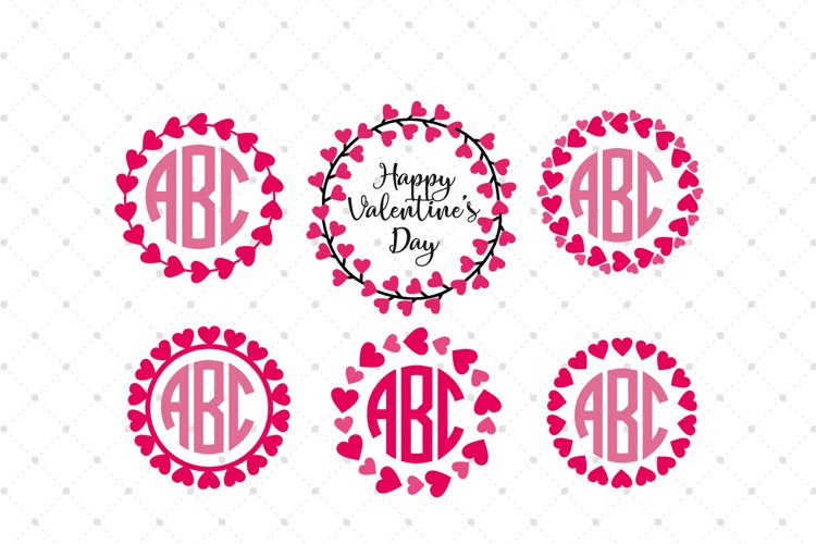 Valentines Day Heart Monograms SVG Cut Files