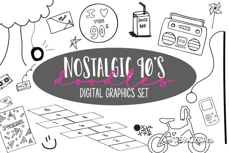 Nostalgic 90's digital graphics bundle example image 1