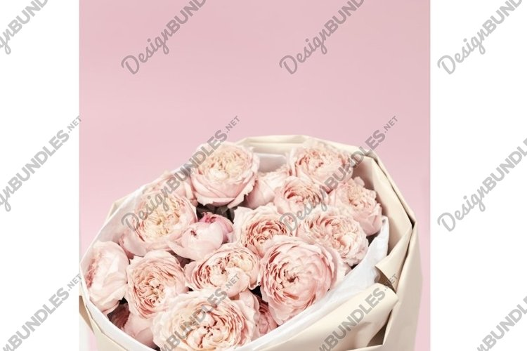Bouquet flowers of peony roses, pink color, close up example image 1