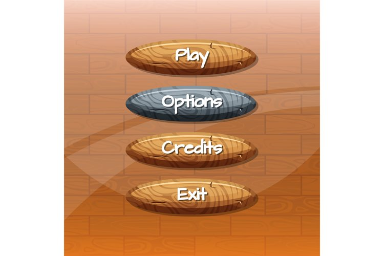 Vector cartoon style wooden buttons with example image 1