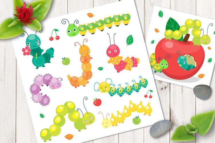 Cartoon caterpillar vector cute set example image 1