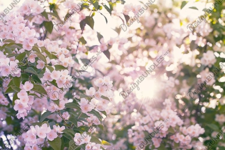Blooming apple tree with sun flare example image 1