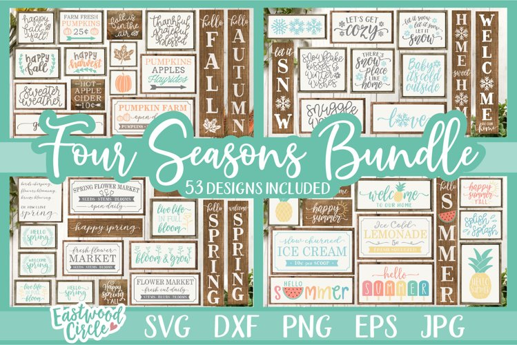 Four Seasons SVG Bundle - Spring, Summer, Fall, Winter Signs