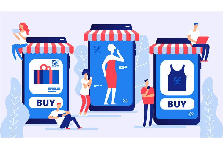 Online shopping concept. Boy and girl, vector buyers with la example image 1