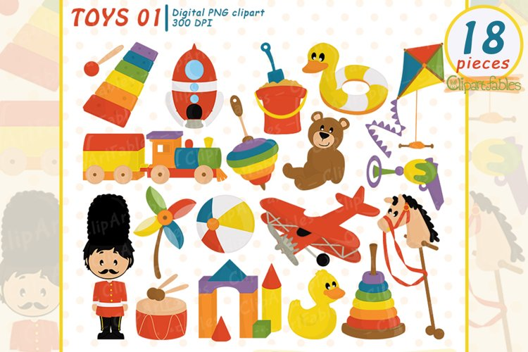 Cute TOYS clipart, Wooden - Retro toys - INSTANT download