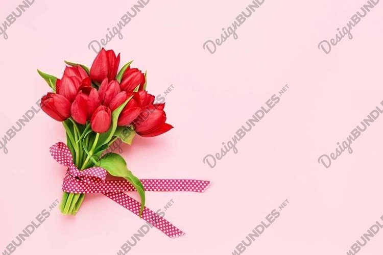 Red tulips bouquet decorated with ribbon on pink background.