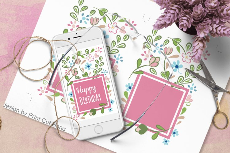 Floral Birthday Card Templates - Word Docx - Interactive PDF example image 1