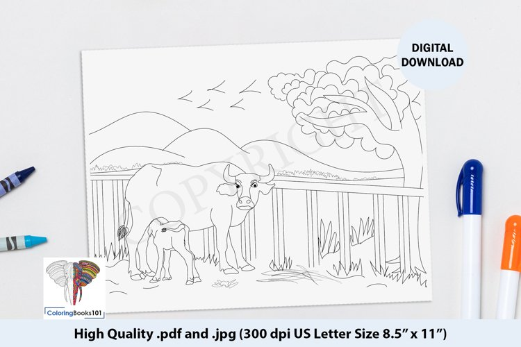 The Mother Buffalo Feeding Her Baby Calf Coloring Page example image 1