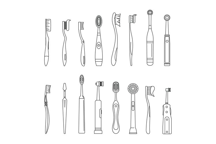 Toothbrush dental icons set, outline style example image 1