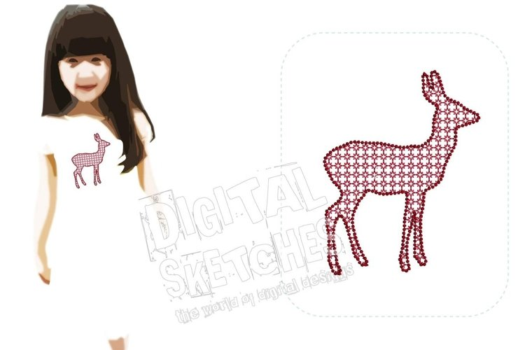 Roe Deer Machine Embroidery Design 3 Sizes example image 1