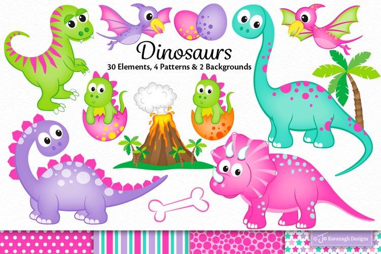 Dinosaur clipart, Girl Dinosaurs graphics illustrations C46