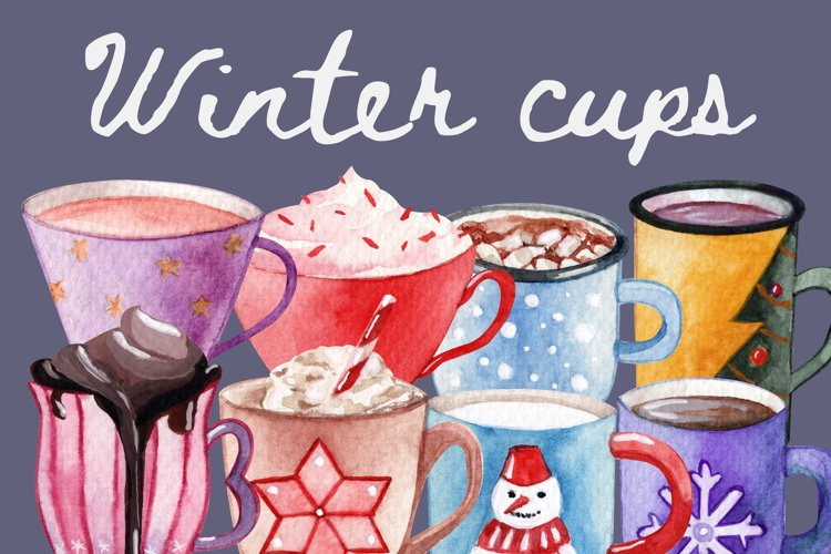Winter cups SET for decor. PNG Merry Christmas. High quality