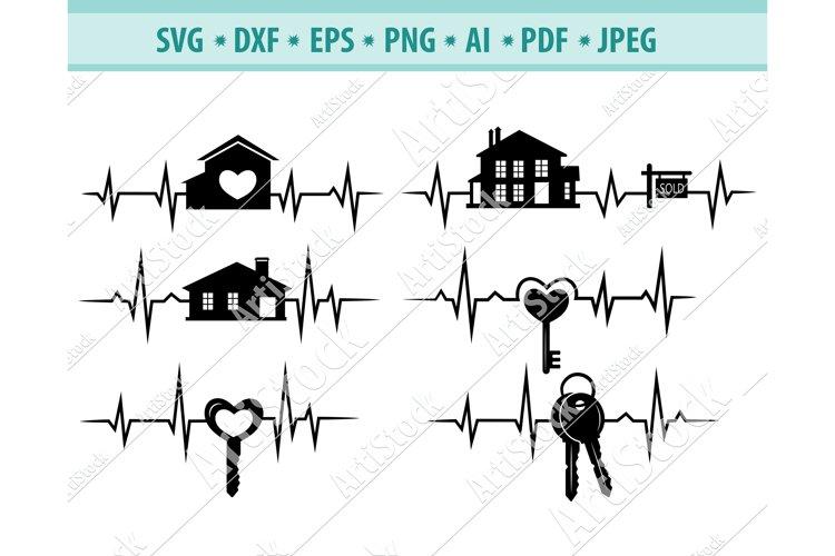 House svg, Keys Svg, Realtor logo with heart Png, Dxf, Eps