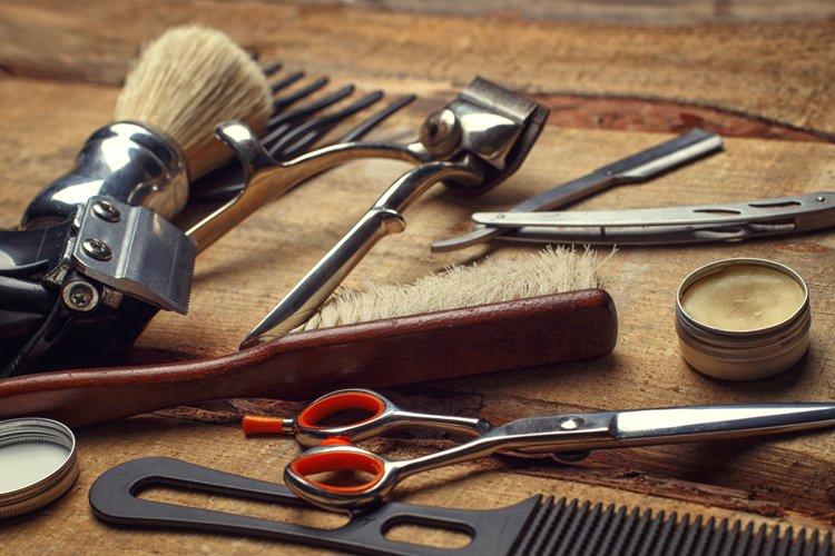 Barber shop wooden backgrounds JPG set example 6