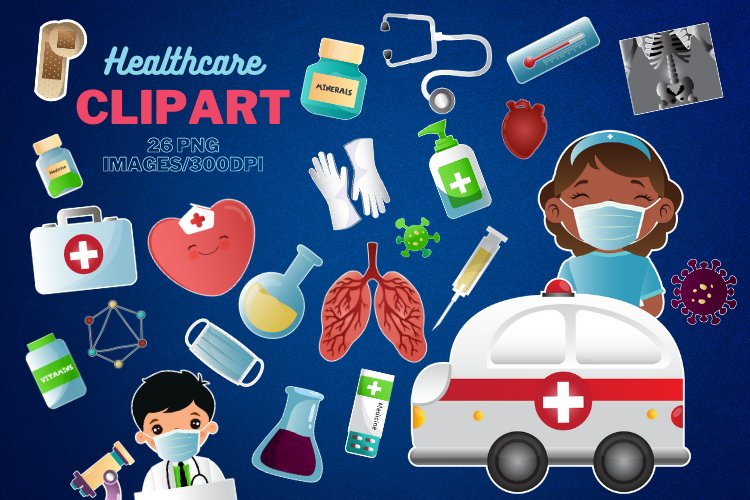 Healthcare Clipart, Medical clipart, Stay Home Clip Art example image 1