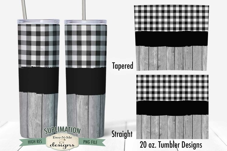 Tumbler Sublimation 20 oz Wrap | Yellow Check Barn Wood PNG