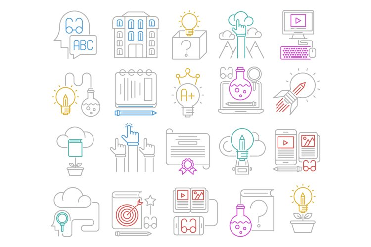 Knowledge and education icons set example image 1