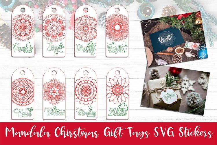 Christmas Gift Tags Bundle Set of 8 Mandala Ornaments