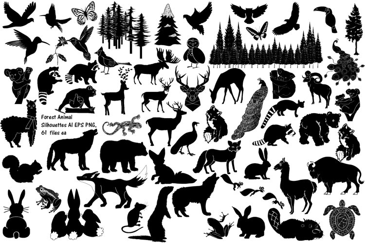 Forest Animal Silhouettes AI EPS PNG