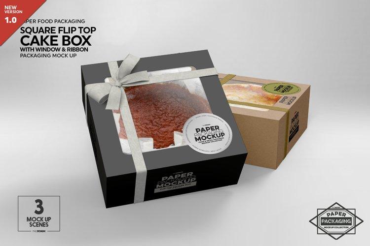 Square Flip Top Cake Box Packaging Mockup