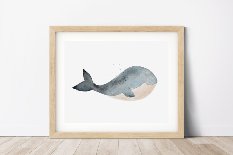 Watercolor Whale Wall Art, Whale Wall Print, Home Wall Decor example image 1