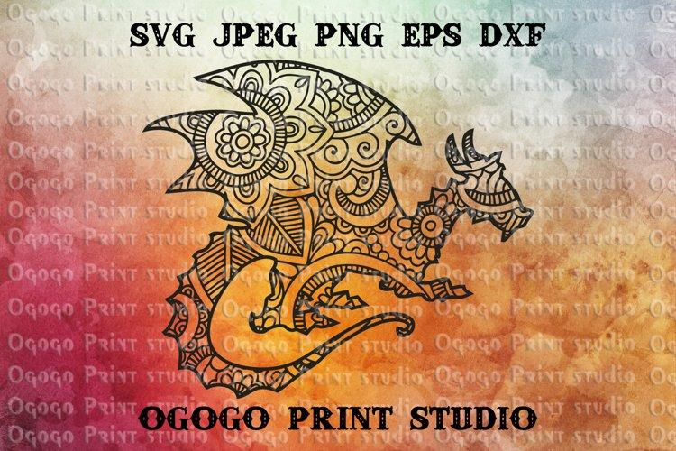 Mandala style Dragon SVG, Zentangle SVG, Pet svg